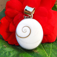 Indian Shiva Shell Pendant smooth setting Silver -70%