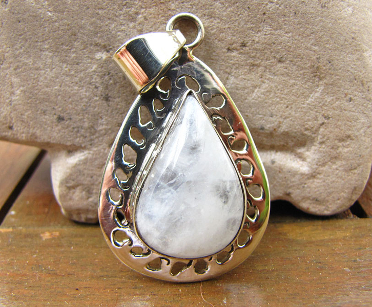 Indian Moonstone Pendant 925 Silver Paisley -70%