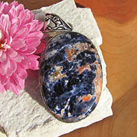 Splendid Pendant Sodalite orange - Indian Silver Jewelry