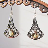 Indian Citrine Earrings • Ethnic Style 925 Silver