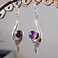 Enchanting Amethyst Earrings • Indian Design 925 Silver