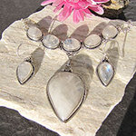 Moonstone Necklace, Earrings - Indian Silver Jewelry Set