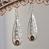 Indian Garnet Earrings • floral Ornament 925 Silver