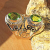 Indian Peridot Ring Jewelry • Ethnic Design • Silver