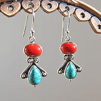 Adorable Indian Earrings Turquoise and Coral 925 Silver