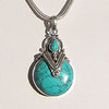 Indian Turquoise Pendant • Ethnic Style 925 Silver Trim