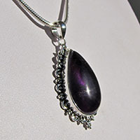 Amethyst Pendant finely ornated • Indian Silver Design