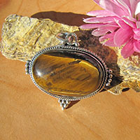 Indian Tiger's-Eye Pendant ☙ Ethnic Style 925 Silver Jewelry