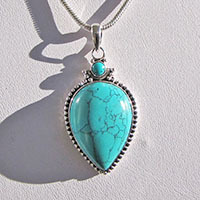 Indian Turquoise Pendant • 925 Silver Jewelry