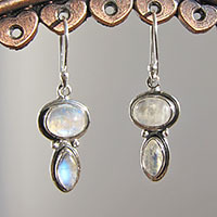 Shimmering Moonstone Earrings ☼ Indian Silver Jewelry