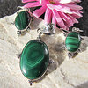 Indian Malachite Jewelry Set • 925 Silver