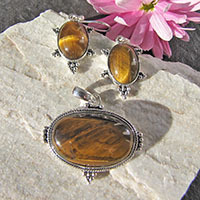 Noble Tiger's-Eye Jewelry Set • 925 Silver Design