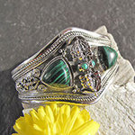 Magnificent 925 Silver Bangle with Malachite - rotating Vajra