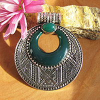 Indian Green Onyx Pendant • Ethnic Style • Silver