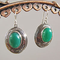Green Onyx Earrings • Indian Silver Ethnic Jewelry