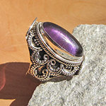 Amethyst Ring in Ethnic Style ☙ Indian 925 Silver Jewelry