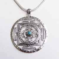 Silver Turquoise Pendant ☸ Indian Ethnic Jewelry ☸ Amulet