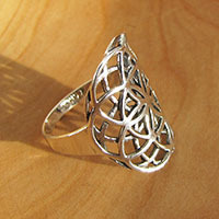 Ring 'Flower of Life' Symbol • Indian Silver Jewelry