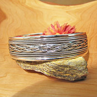 Magnificent Bangle in Braided Design ⚜ Silver Ethnic Jewelry