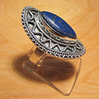 Indian Lapis Lazuli Ring ❦ 925 Silver Ethnic Jewelry