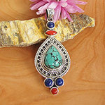 Pendant Turquoise Coral Lapis • Indian Ethnic Design 925 Silver