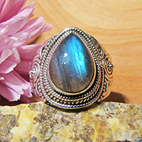 Indian Labradorite Ring • Ethnic Design • Silver Jewelry