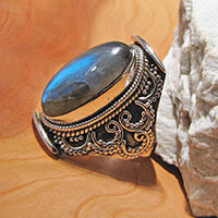 Magnificent Labradorite Ring ★ Indian Silver Jewelry