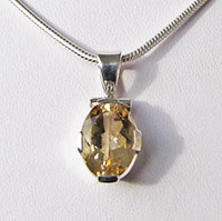 Sparkling Citrine Pendant ☆ Indian Silver Jewelry