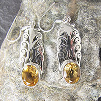 Indian Citrine Earrings • floral Ornament 925 Silver