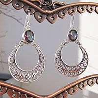 Indian Mystic Topaz Hoop Earrings ornated ☆ Silver Jewelry