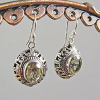 Indian Lemon Quartz Silver Earrings • Ethnic Ornament
