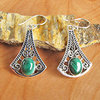 Indian Malachite Earrings • Ethnic Style 925 Silver
