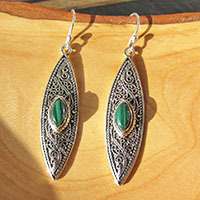 Indian Malachite Earrings • Ethnic Design 925 Silver