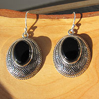 Indian Onyx Earrings • Ethnic Style • 925 Silver