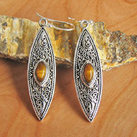Indian Tiger's-eye Earrings • Ethnic Design 925 Silver