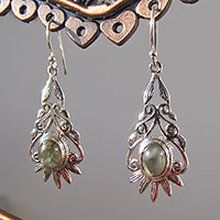 Indian Labradorite Silver Earrings • Floral Ornament