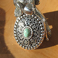 Artful Turquoise Pendant 925 Silver ☸ Indian Ethnic Style