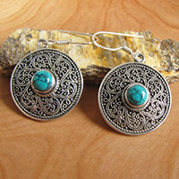 Indian Earrings with Turquoise • Ethnic Silver Decoration
