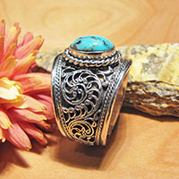 Indian Turquoise Ring • Open Band • 925 Silver
