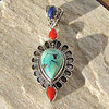 Pendant Turquoise Coral Lapis • Ethnic Style 925 Silver