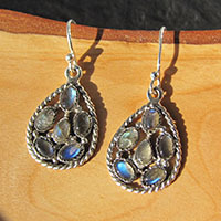 Earrings with 6 Labradorite in 925 Silver Mesh