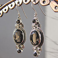 Sparkling Smoky Quartz Earrings ★ Indian Silver Jewelry