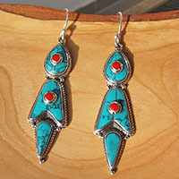 Indian Turquoise Coral Silver Earrings ⚜ Ethnic Design