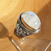 Indian Moonstone Ring decorated • Ethnic Style 925 Silver